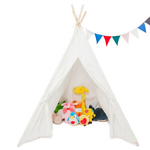 Indoor Outdoor Playhouse Sleeping Dome Indian Teepee Children Play Tent White