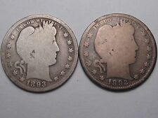 2 Silver US BARBER Quarters. 1892 & 1893.  #28