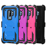 For Samsung Galaxy S9 Plus Rugged Holster With Kickstand & Belt Clip Case Cover