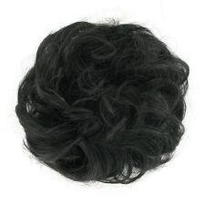 extension bollo en el cabello coletero rizado marrón oscuro castaño 17/2