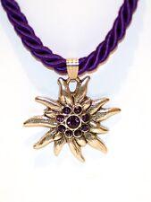 German Bavarian Womens Oktoberfest Jewelry - Purple Swarovski Edelweiss Necklace