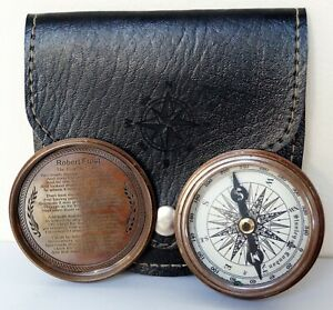 """Antique Vintage Brass Working Camping Hiking 2"""" Compass With Black Leather Case"""