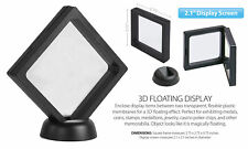 "3D Floating View Coin Display Frame Holder Box Case Medium Black (2.1"") - QTY 2"
