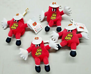 """LOT OF 4 Mr JELLY BELLY Stuffed Plush BEAN BAG TOYS Key Chain VERY CHERRY NEW 7"""""""
