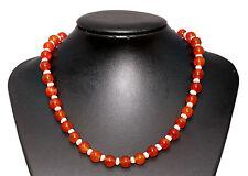 Rojo Piedra Ágata & Collar De Perlas De Agua Dulce Longitud 45cm Gancho