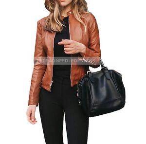 Women Slim fit Designer Genuine Lambskin Leather Biker Jacket
