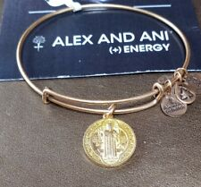 Alex and Ani Russian Gold Expandable Bracelet❤️ W/Added Saint Benedict Charm