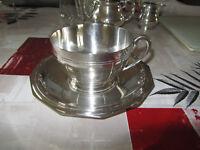 Déjeuner avec sa sous tasse en métal argenté poinçon R.R ou B.B à définir