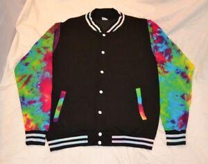 Tie Dye trippy rainbow college style jock varsity jacket Handmade