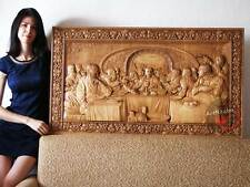 """Last Supper 3D Art Orthodox Wood Carved religious Icon Large Jesus (48""""x25"""")"""