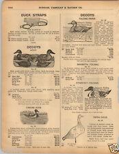 1925 PAPER AD Johnson's Folding Paper Duck Decoy Glass Eye Wooden Cedar Canvas