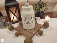 "New RAE DUNN by Magenta LL ""SUGAR"" Canister Tall With Square Lid White"
