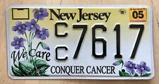 """NEW JERSEY CONQUER BREAST CANCER LICENSE PLATE """" CC 7617 """" NJ WE CARE FLOWERS"""