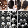 12PCS BRIDAL WEDDING CRYSTAL HAIR TWISTS SWIRLS PINS SPIRALS PEARL FLOWER UNIQUE