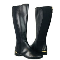 Louise Et Cie Vallery Women's Black Knee High Leather Riding Boots Stretch Sz 5