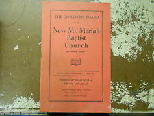 VINTAGE PAMPHLET - Sept. 27, 1964 - New Mt. Moriah Baptist Church - Detroit, MI