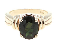 14KT YELLOW GOLD OVAL TOURMALINE GEMSTONE RING