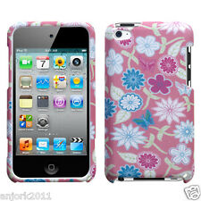Apple iPod Touch 4 Snap-On Hard Case Cover Accessory Pink Blue White Flowers