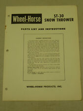 WHEEL HORSE TRACTOR ST-30 SNOW THROWER PARTS LIST MANUAL