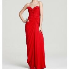 Badgley Mischka ~ Red Silk Ruched Ruffled Sweetheart Formal Gown 8 NEW $595