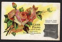 EASTON PA*LEHR PIANO FOR YOUR HOME*EMBOSSED POSTCARD*EARLY 1900's*TRADE CARD