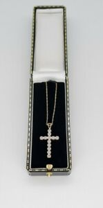 Fine 9ct/375 Gold Large Diamond Cross Pendant with Gold Chain White Yellow