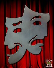 THEATER MASKS 02 -- Metal Comedy Tragedy Movie Room Wall Art Happy Sad Face Sign