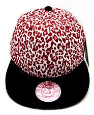 LEOPARD Flat Bill Snapback Cap Hat Pink Faux Animal Print Crown Hip Hop Hats NWT