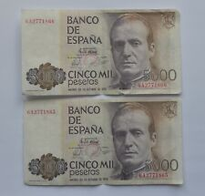 More details for 1979 spain 5000 pesetas banknotes x 2 consecutive numbers