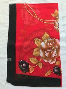 Brand New Flower  Design Scarf Wrap Red 160cm x50cm b