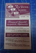New RCA Victor and Bluebird Records Brochure. October 1951. Harmony Lane Inc.