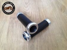 Cafe Racer Motorcycle Black Leather Look 22mm Grips Handlebar With Chrome