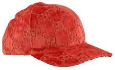 New Auth Gucci Interlocking Gg Velvet Baseball Cap Hat Red M