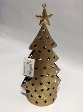 Golden Christmas Tree Design Metal Tea Light Holder