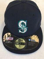SEATTLE MARINERS MLB RETRO NEW ERA 5950 NAVY W/ BLACK UNDER FITTED HAT