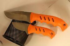 Elk Ridge 2pc fixed blade hunting knife with sheath Soft orange handles ER-532OR