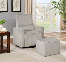 Naomi Home Lorraine Swivel Glider and Ottoman Set Gray Microfiber