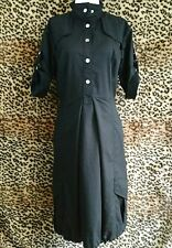 Blacky Dress Berlin Womens SZ 10 Black Punk Minimalist Midi Length Shirt Dress