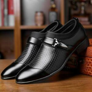 US Mens Leather Formal Business Slip On Casual Oxfords Flats Pumps Dress Shoes