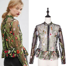 Womens See Through Flower Embroidery Blouse Stand Collar Ruffles Hem Long Sleeve