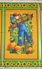 "Sunny Daze Autumn Fall Scarecrow Pumpkin Northcott Fabric  23"" Panel  #21131"