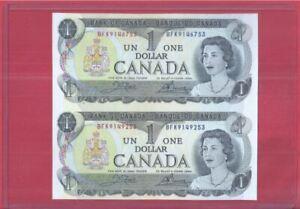 Canada 1 Dollar 1973 Uncut 2-In-1 (UNC) BFK 9146753 BFK 9149253