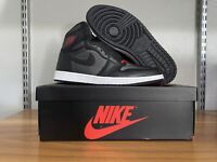 "Nike Air Jordan 1 Retro High OG ""Black Satin"" Red Shoes 555088-060 Men's Size 13"