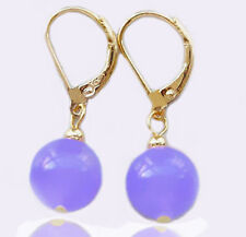ON SALE New Fashion Pretty 10mm Purple Jade Round Beads 18KGP Leverback Earrings