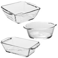 4 Tempered Glass Dish Ramekin Dishes Set Small Casserole Oven Microwavable Safe