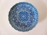 Oriental Blue & White Floral Mandala Plate, Vintage, Hand Painted