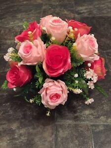New Stunning Artificial Flower Arrangement Pink/cerise In Black Pot For Grave