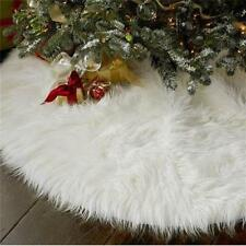 White Snow Plush Christmas Tree Skirt Base Floor Stand Mat Cover Home Decor Xmas