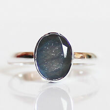 100% 925 Solid Sterling Silver Faceted Blue Labradorite Stone Ring - Size 8