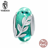 VOROCO Sterling Silver Summer Leaves Glass Bead Charms Fit For European Bracelet
